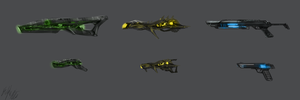 Weapon Concept speedpaintings by PeterPrime