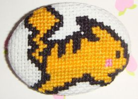 Pikachu cross stitch pin by pixel8bit
