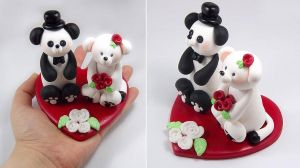 Panda and Snow Weasel Wedding Cake Topper by HeartshapedCreations
