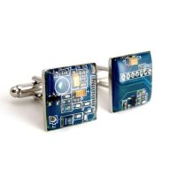 Blue Recycled Circuit Board Cufflinks by Techcycle