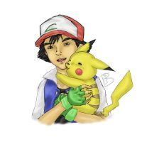 Ash and Pikachu by SaintBree