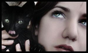 Selfportrait with kitty by EmberRoseArt