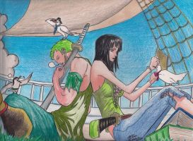 Zoro and Robin by Taiel