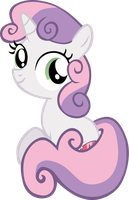 Sweetie Belle sitting down, looking at you! by Flutterflyraptor