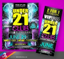 UNDER 21 CLUB Flyer and Ticket by AnotherBcreation