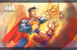 Superman vs Goku by Arqueart