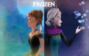 Anna and Elsa Wallpaper by Miss-Ellanius