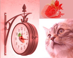 The Cat, Strawberry and Clock by yumithespotter