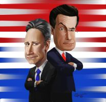 Stewart and Colbert by Garrenh