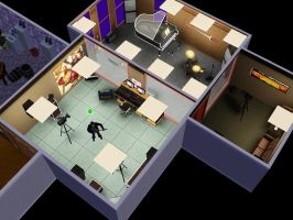 sims 3: my Sim's Studio in his house. by ownerfate