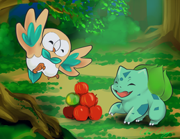 Rowlet and Bulbasaur by CityPound