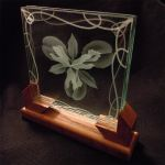 Angle view etched iris glass design by ImaginedGlass