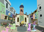 Mediaeval Times Square with Cartoon Horses by Meertogh