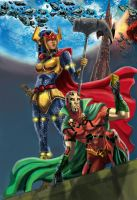 mr.miracle and big barda colored finished 2 by wanderlei78