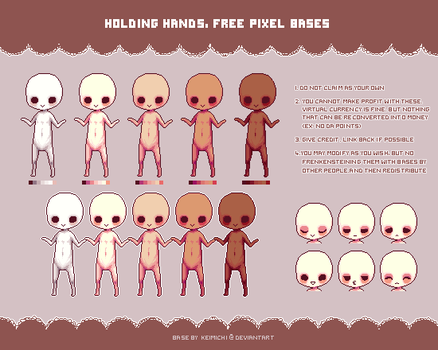 Holding hand pixel base ::free to use by Keimichi