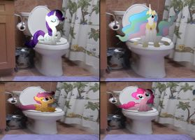 Ponies on the potty by MetalGriffen69