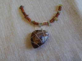 Tigerseye Wirewrap Necklace by Lizzie-Leeches