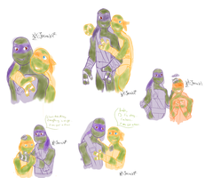 .: TMNT Doodels 02:. Donnie n Mikey by xX-Jarira-Xx