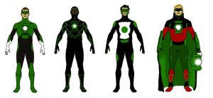 Green Lantern Redesign:  Lineup by toekneearrows
