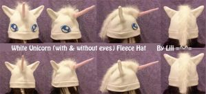 White Unicorn Fleece Hat by LiliNeko