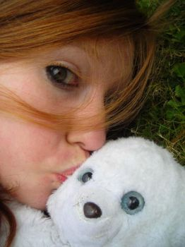 Red-haired with teddy bear II by Cannellekikou