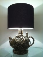 steampunk teapot lamp by richardsymonsart