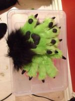Fursuit handpaws. by WithCandyDancing