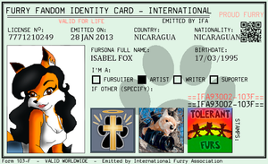 my oficial furry fandom ID card by eict