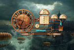 Mechanical Steampunk Clock (animated) for xwidget by Jimking