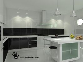 kitchen black and white view 3 by yoel-touch