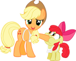 Applebloom and Applejack vector by rhubarb-leaf