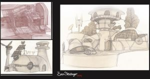 Sketch #futuristic apartments and animals by EskarArt