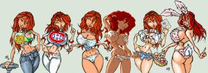 A bunch of Molly's 2009-2011 by Gib-Pinups-And-Toons