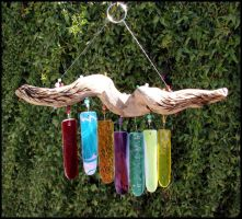 Driftwood and Glass Windchime by andromeda