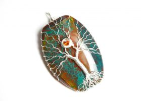 Teal and Orange Agate Tree of Life by LoneWolfjewelry