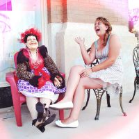 laughing with a mannequin by SublimeBudd