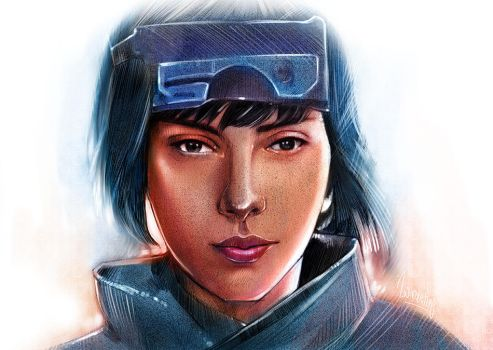 Ghost in the shell digital painting by wallacedestiny