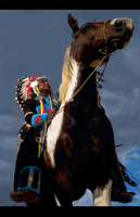 Native American on Horse by Eenuh