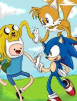 Adventure Time with Sonic and Tails by CyberneticDragon