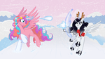 Princesses Playing in the Snow by NaomiKnight17
