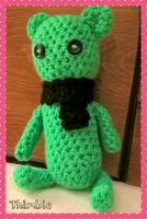 Crocheted Green Teddy Bear by PXLtheOTTERwolf