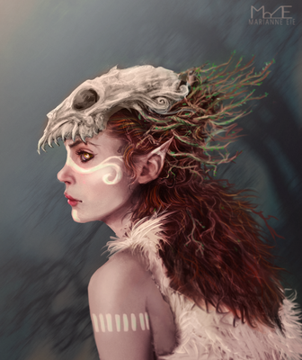 Daily Draw: The Pale Druid of the Forest by MarianneEie