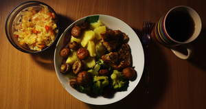 Chicken with broccoli, potato, mushrooms, sauer... by Yami19