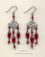 Red evening earrings by pralinkova-princezna