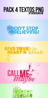 Pack 4 Textos Png by BieberDream