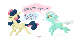 sofasandquills x ponywise: Lyra and Bon Bon by ponywise