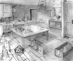 Layout two points perspective - Old kitchen by MariaAuroraRodriguez