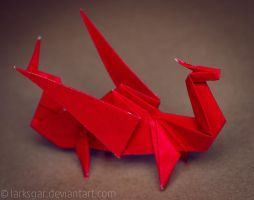 ORIGAMI RED DRAGON by larksgar