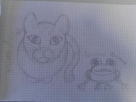 cat and frog :D by Panthera94