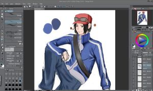 Pokemon XY Main Character MALE (Painting Test) by AzureDevilXENO